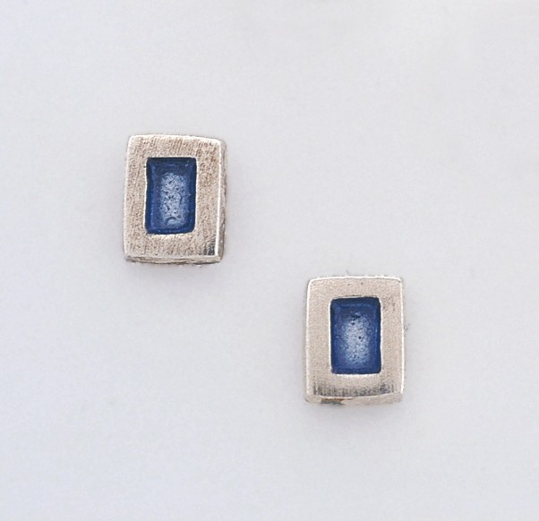 Σκουλαρίκια χειροποίητα απο ασήμι 925 με σμάλτο σε μπλε αποχρώσεις