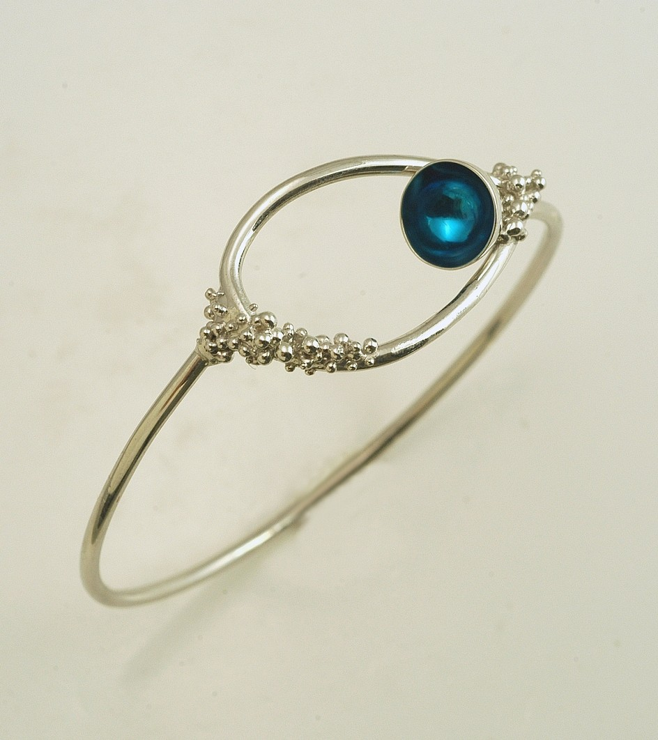 Silver bracelet 925 rhodium plated with resin