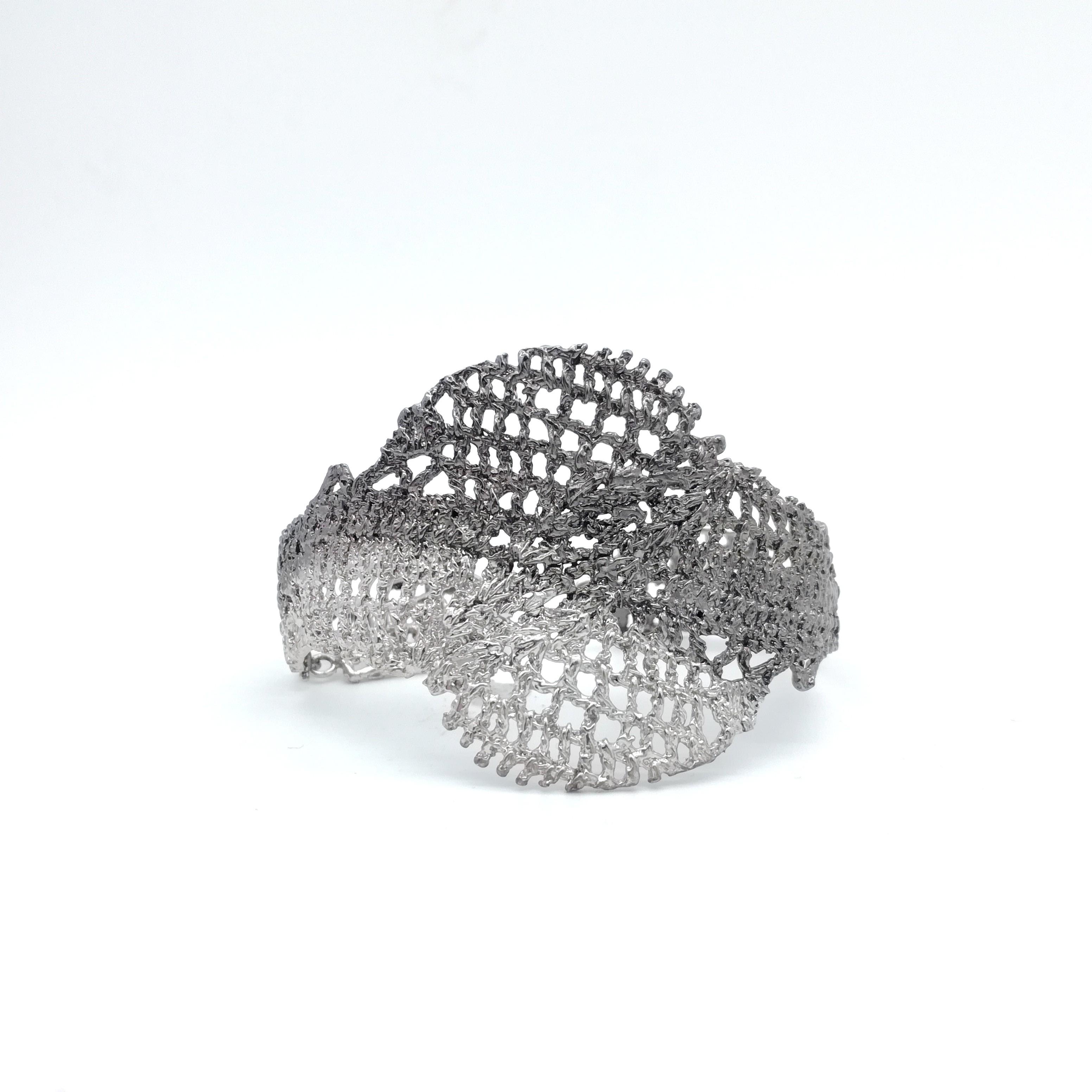 Bracelet handmade in 925 sterling silver rhodium and black rhodium plated