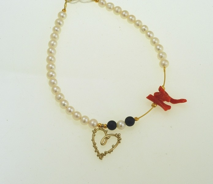 Silver bracelet 925 gold plated with synthetic stones and pearl