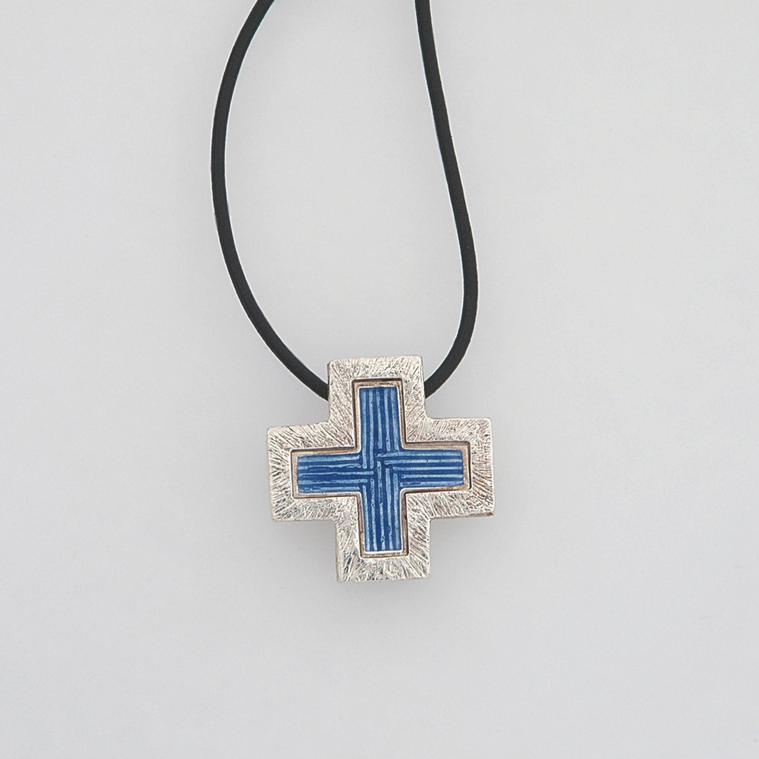 Silver cross 925 enameled