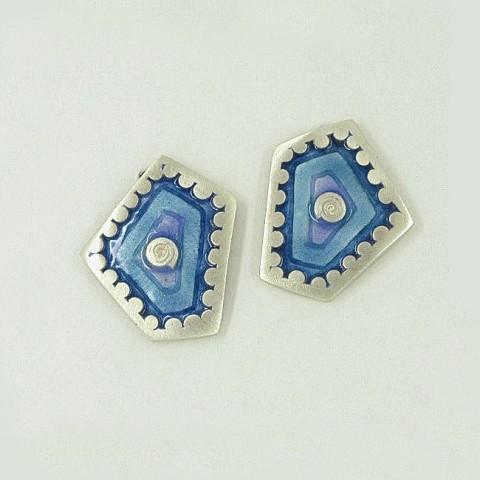 Silver earrings 925 with enamel