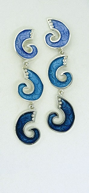 Silver earrings 925 with enamel