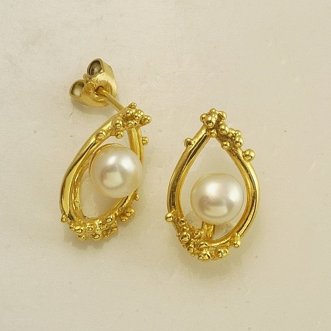 Silver earrings 925 gold plated with pearl