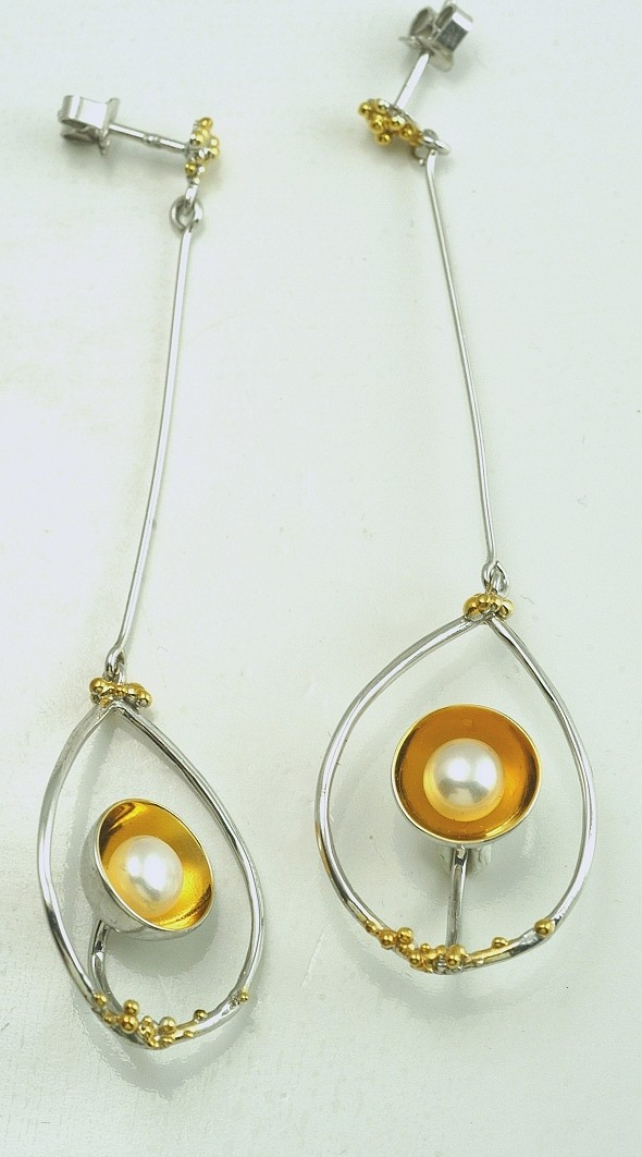 Silver earrings 925 rhodium and gold plated with pearl