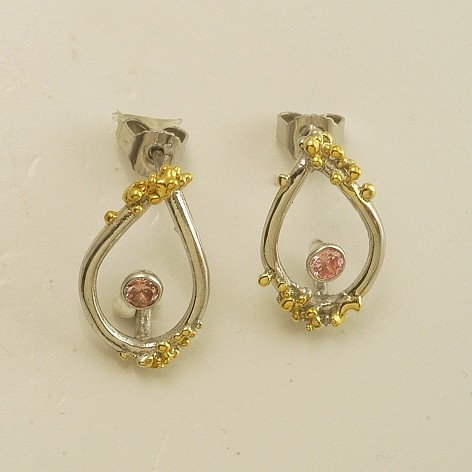 Silver earrings 925 rhodium and gold plated with synthetic stones