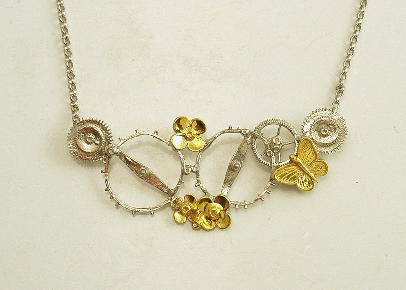 Silver necklace 925 rhodium and gold plated