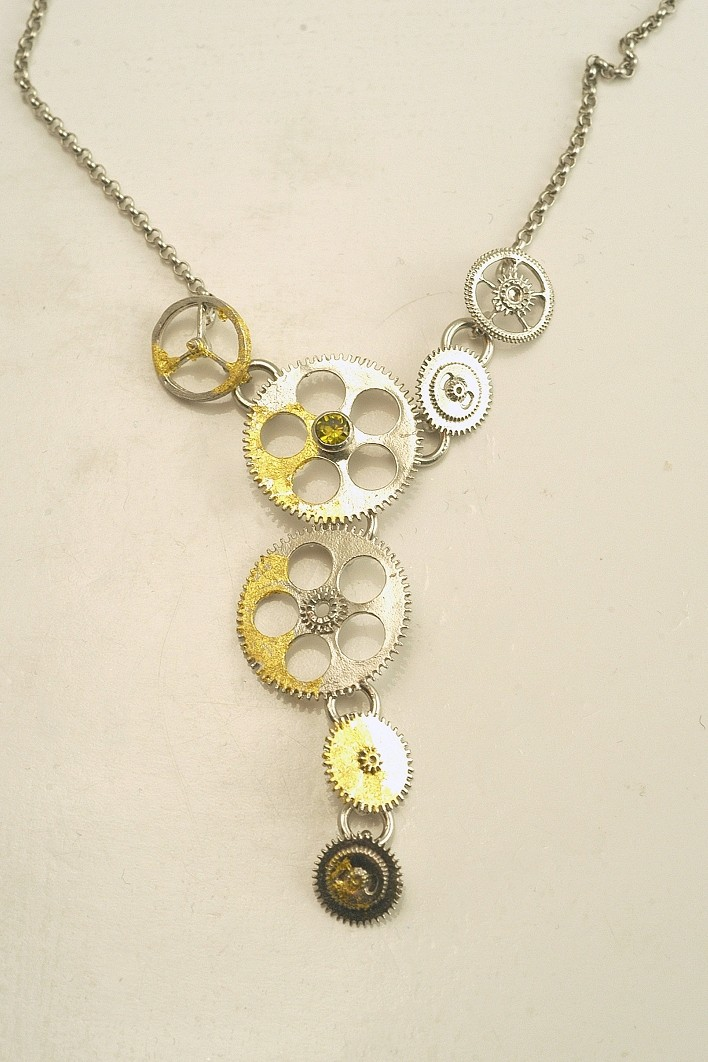 Silver necklace 925 rhodium plated with gold leaf 22K and synthetic stones