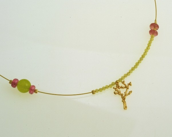 Silver necklace 925 gold plated with synthetic stones