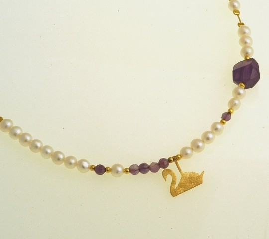 Silver necklace 925 gold plated with pearl and synthetic stones