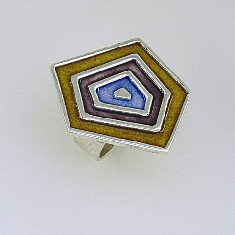 Silver ring 925 enameled with multi colors