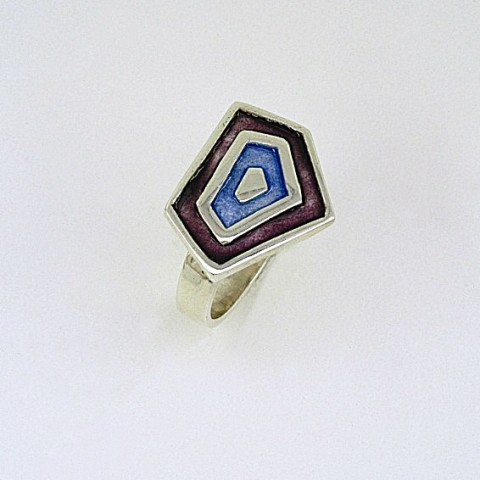 Silver ring 925 enameled with purple and blue colors