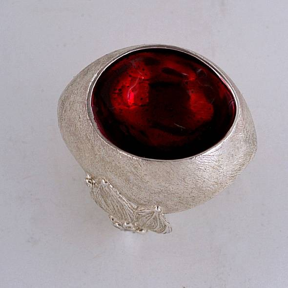 Silver ring 925 rhodium plated with resin