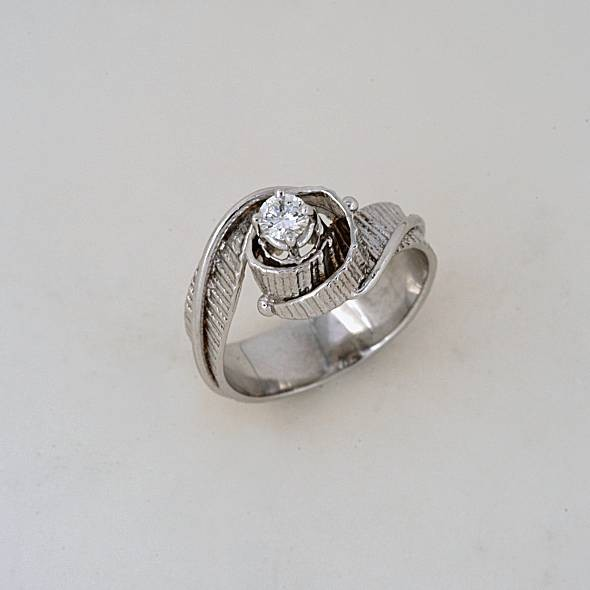 White gold ring 14K or 18K with diamonds brilliant cut