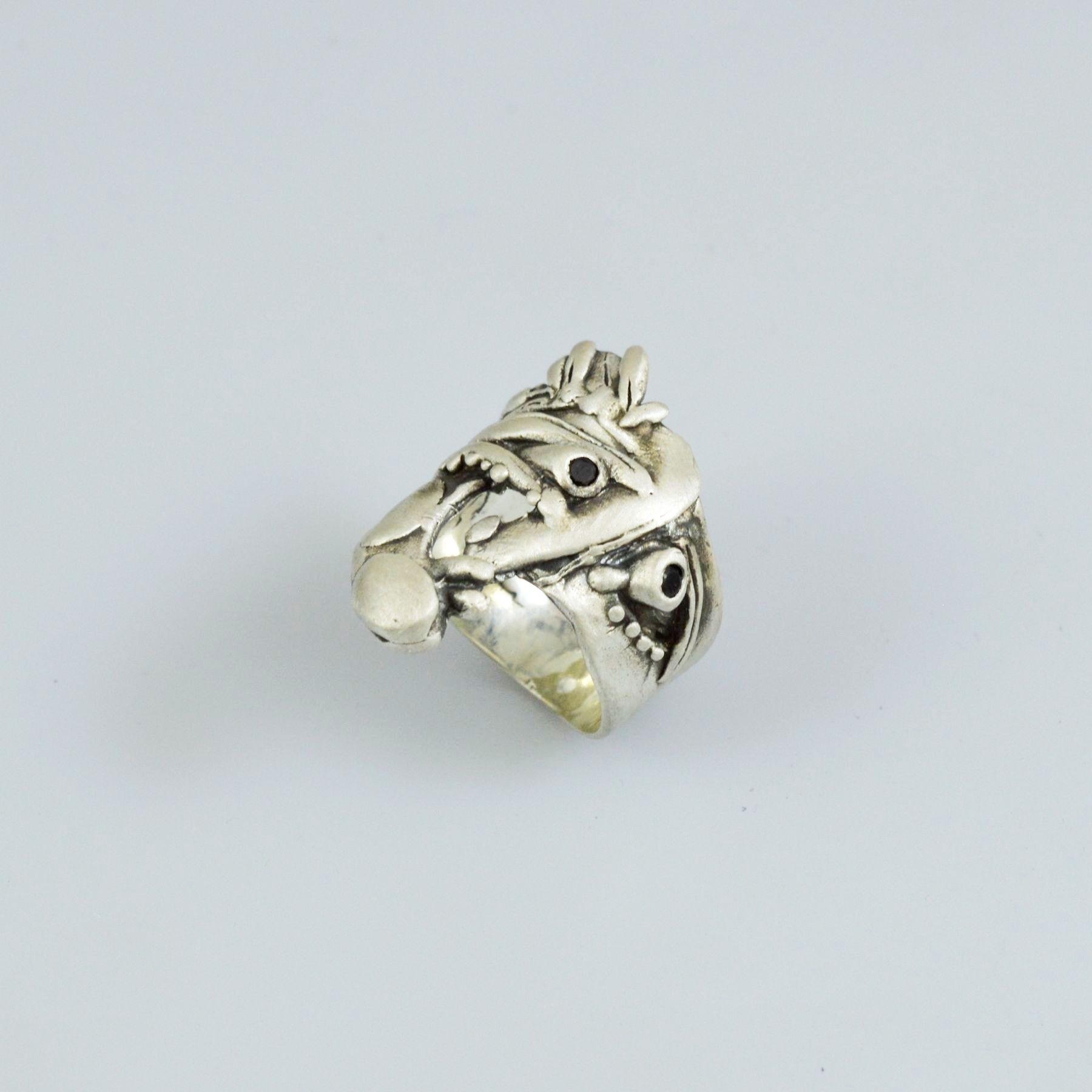 Handmade silver men ring 925 with synthetic stones