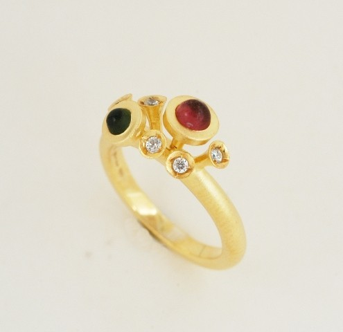 Gold ring 14K or 18K with synthetic stones or diamonds brilliant cut and semiprecious stones