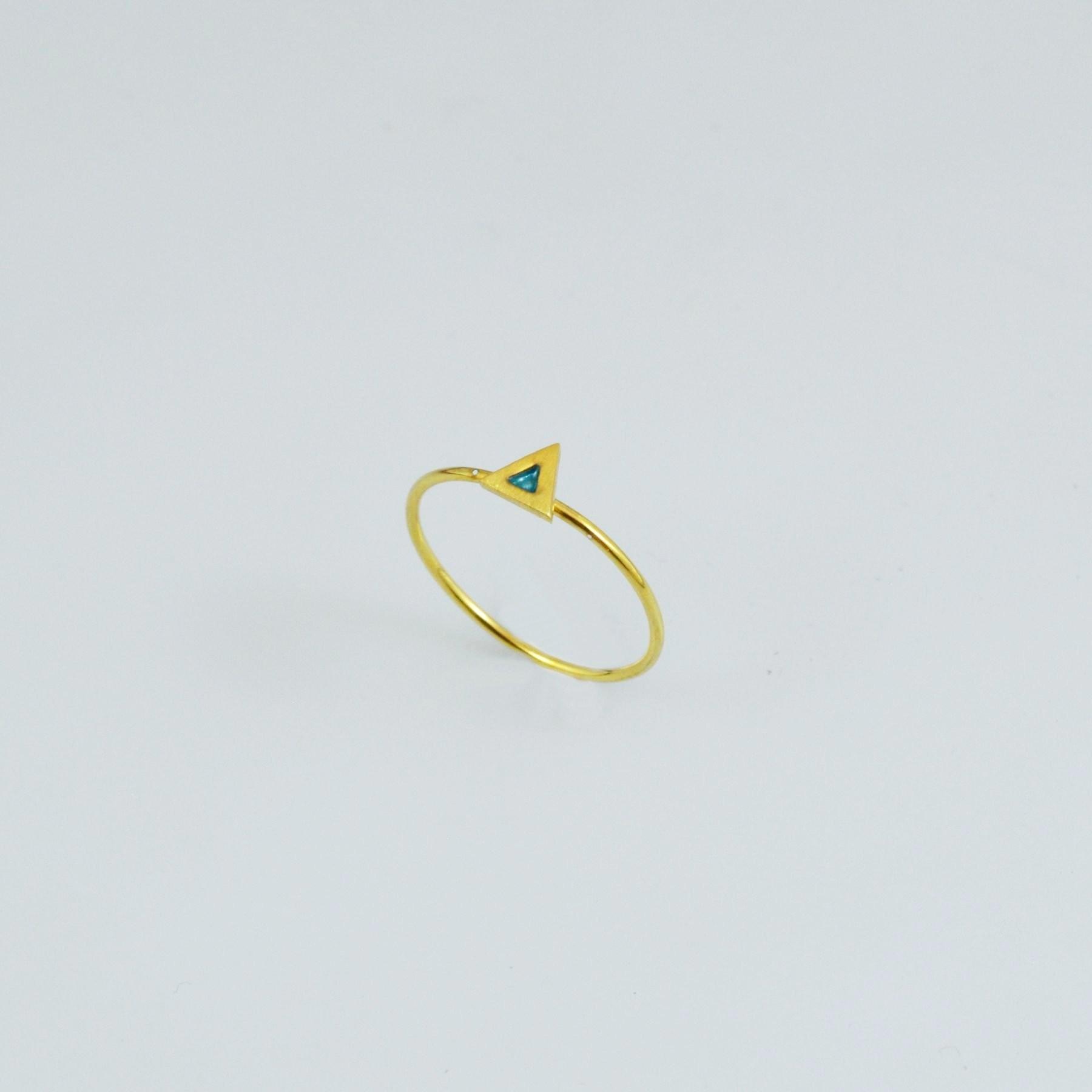 Handmade gold ring 14K with enamel