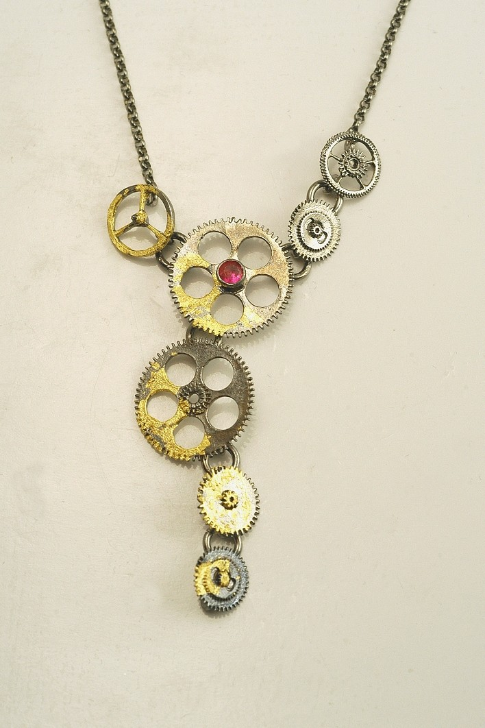 Silver necklace 925 black rhodium plated with gold leaf 22K and synthetic stones