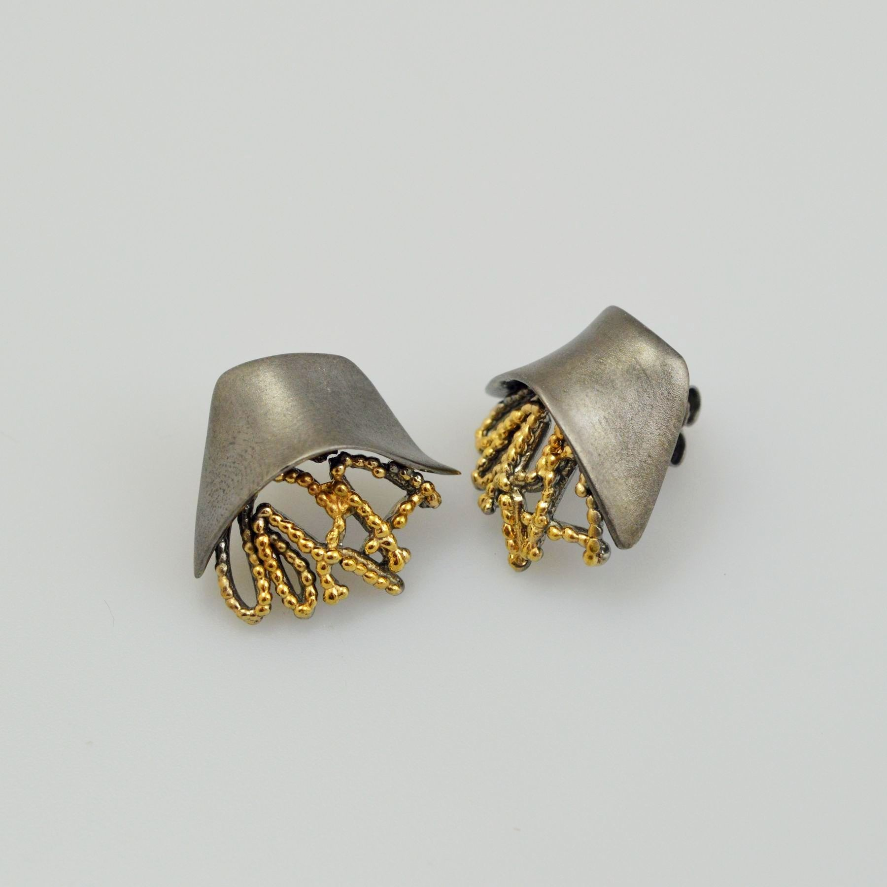 Silver earrings 925 rhodium and gold plated