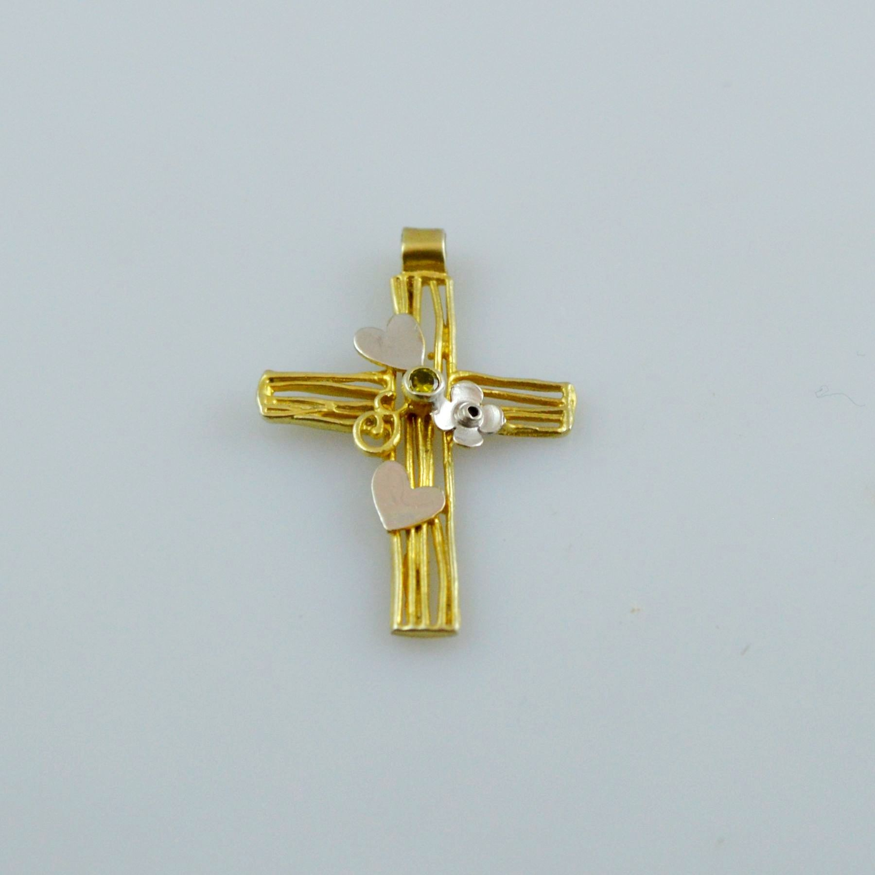 Gold or white gold cross 14K or 18K with synthetic stones or semiprecious stones with diamonds brilliant cut
