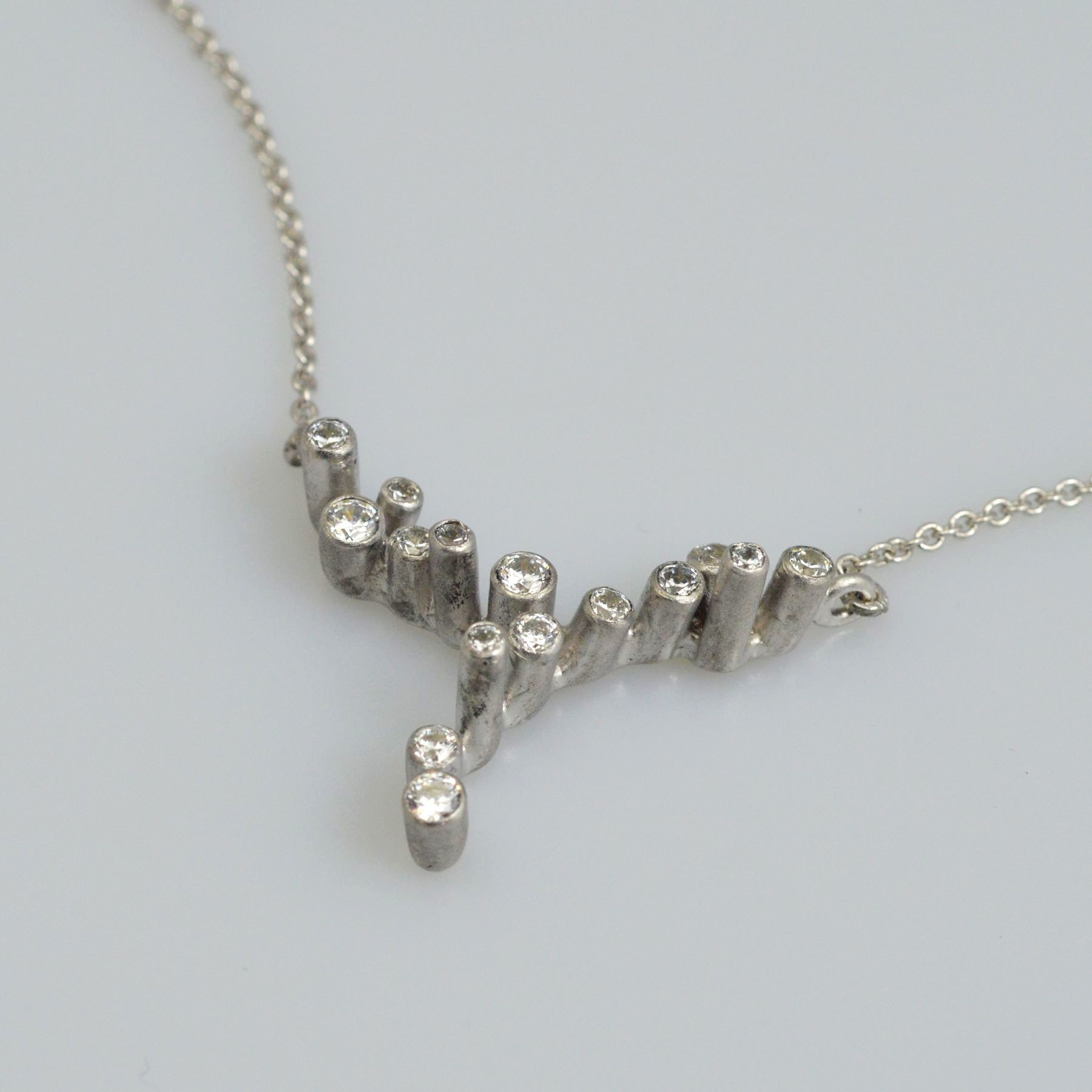 Silver necklace 925 rhodium plated with synthetic stones