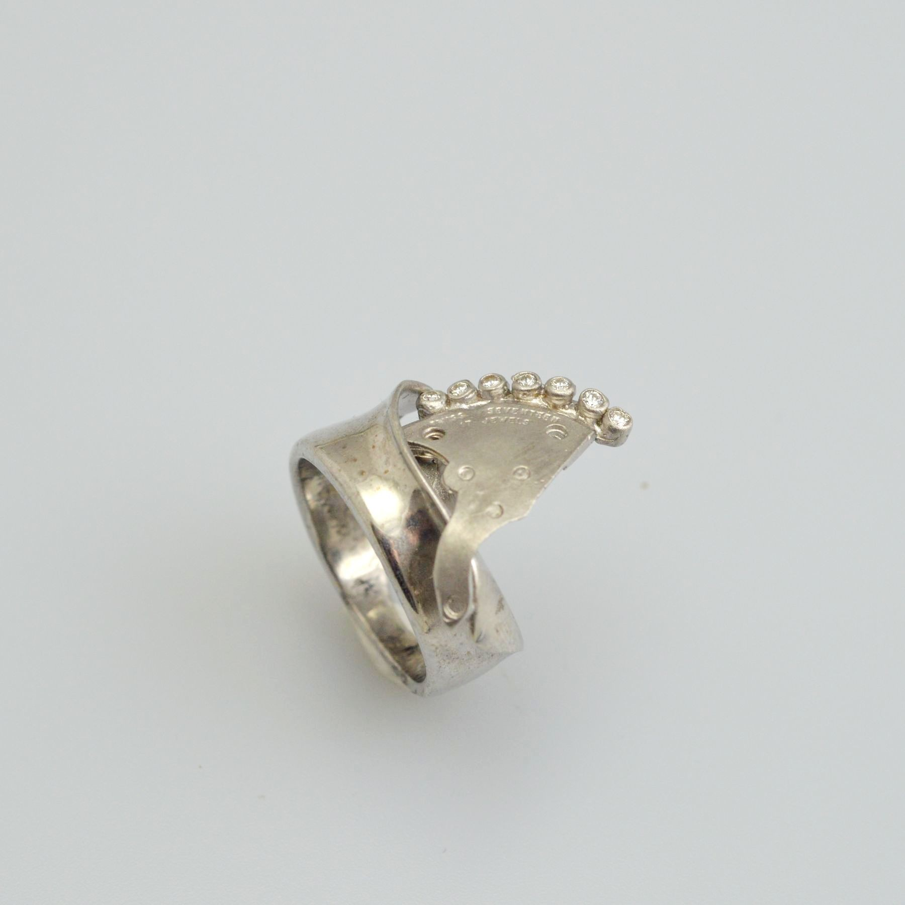 Silver ring 925 rhodium plated with synthetic stones