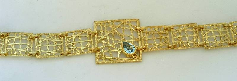 Gold bracelet 14K or 18K with semiprecious stones