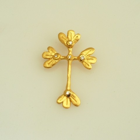 Gold or white gold cross 14K or 18K with semiprecious stones or diamonds brilliant cut
