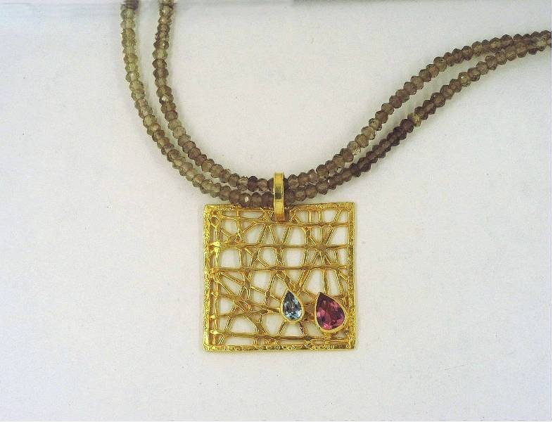 Gold necklace 14K or 18K with semiprecious stones