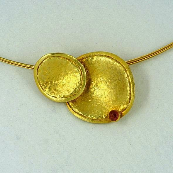 Gold pendant 14K or 18K with semiprecious stones