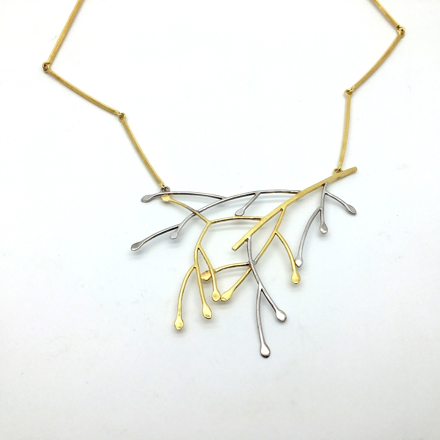 Silver necklace 925 rhodium and gold plated with synthetic stones