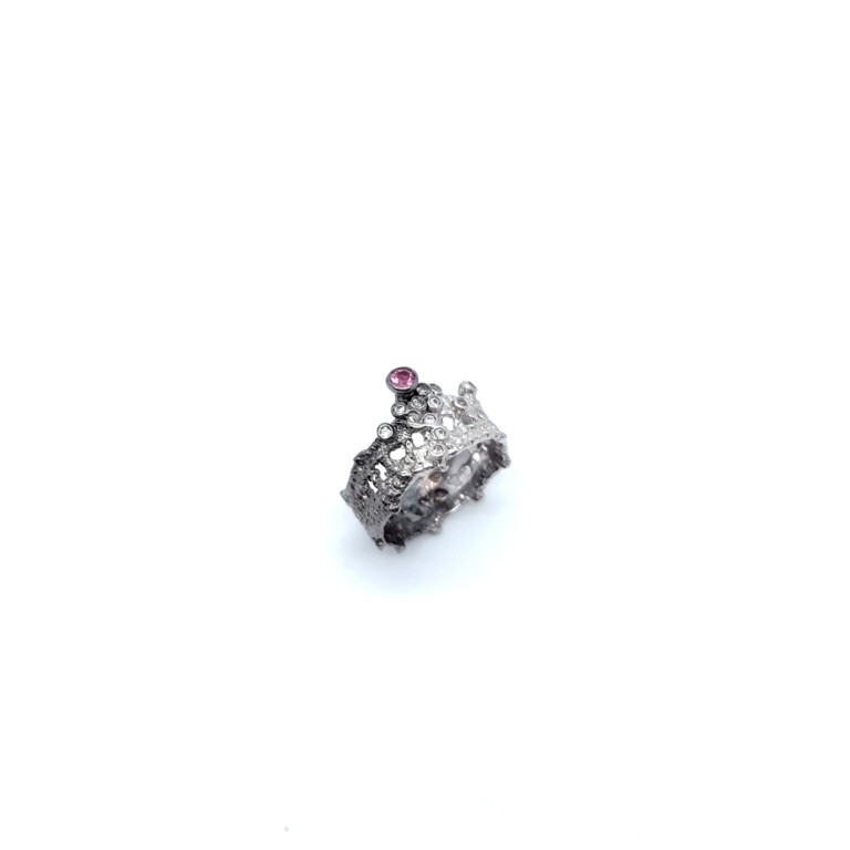 Silver handmade ring in sterling silver rhodium, black rhodium or gold plated with synthetic stones and tourmaline