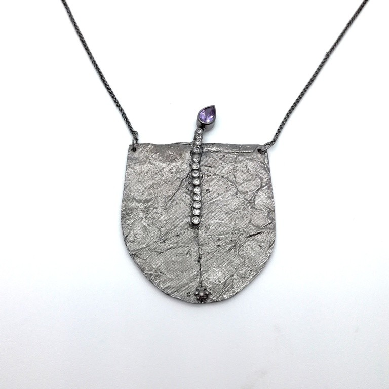 Silver handmade necklace in sterling silver rhodium, black rhodium or gold plated with chain, synthetic and mineral stones
