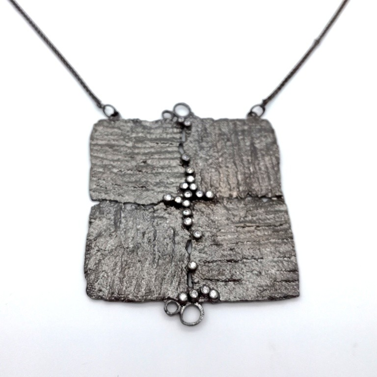 Silver handmade necklace in sterling silver black rhodium plated with synthetic stones