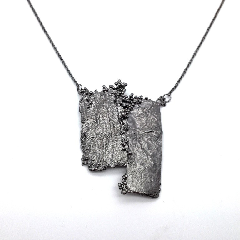 Silver handmade necklace in sterling silver black rhodium plated