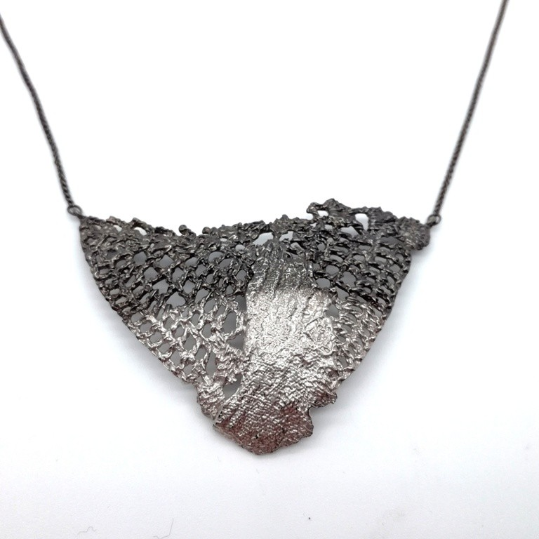 Silver handmade necklace in sterling silver black rhodium and rhodium plated