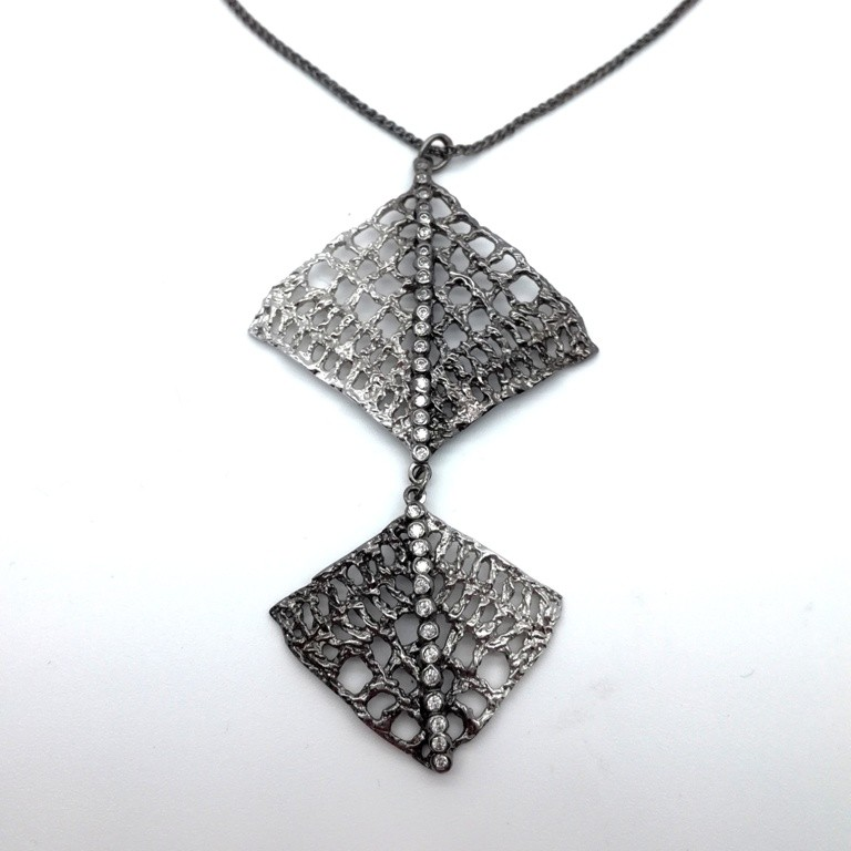 Silver handmade pendant in sterling silver rhodium, black rhodium or gold plated with synthetic stones