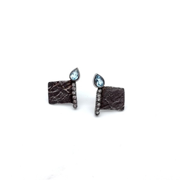 Silver handmade earrings in sterling silver rhodium, black rhodium or gold plated with synthetic and mineral stones