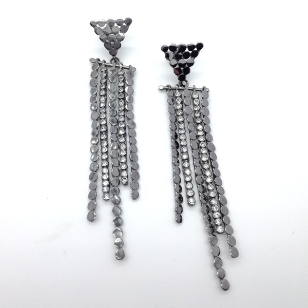 Silver eariings 925 black rhodium plated with synthetic stones