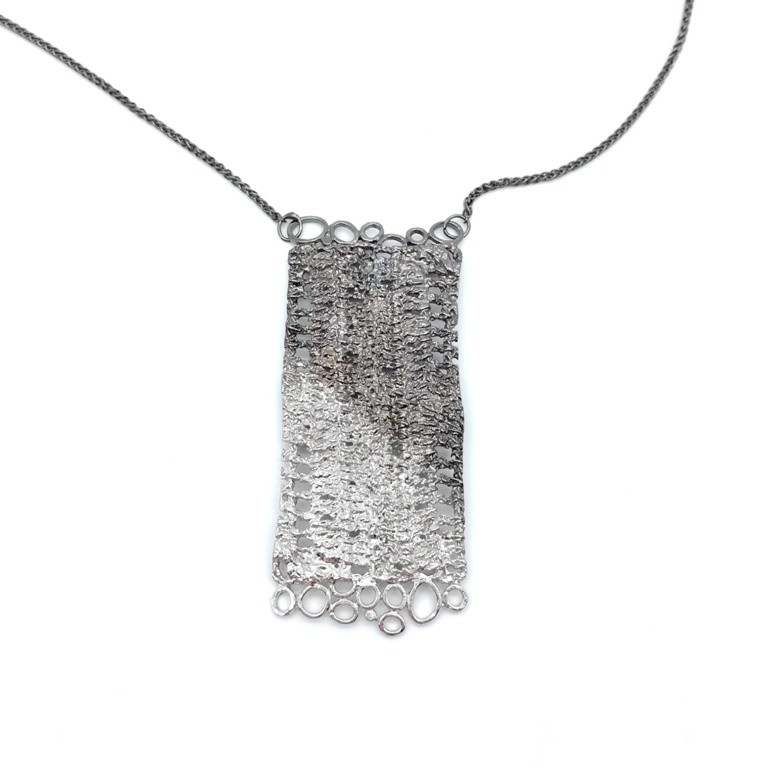 Silver handmade pendant in sterling silver rhodium, black rhodium or gold plated