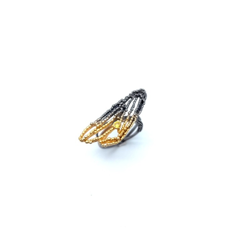 Silver ring 925 black rhodium and gold plated with synthetic stones