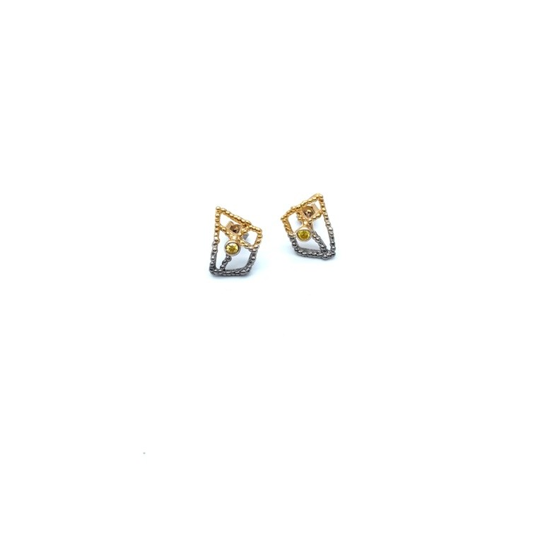 Silver earrings 925 black rhodium and gold plated with synthetic stones