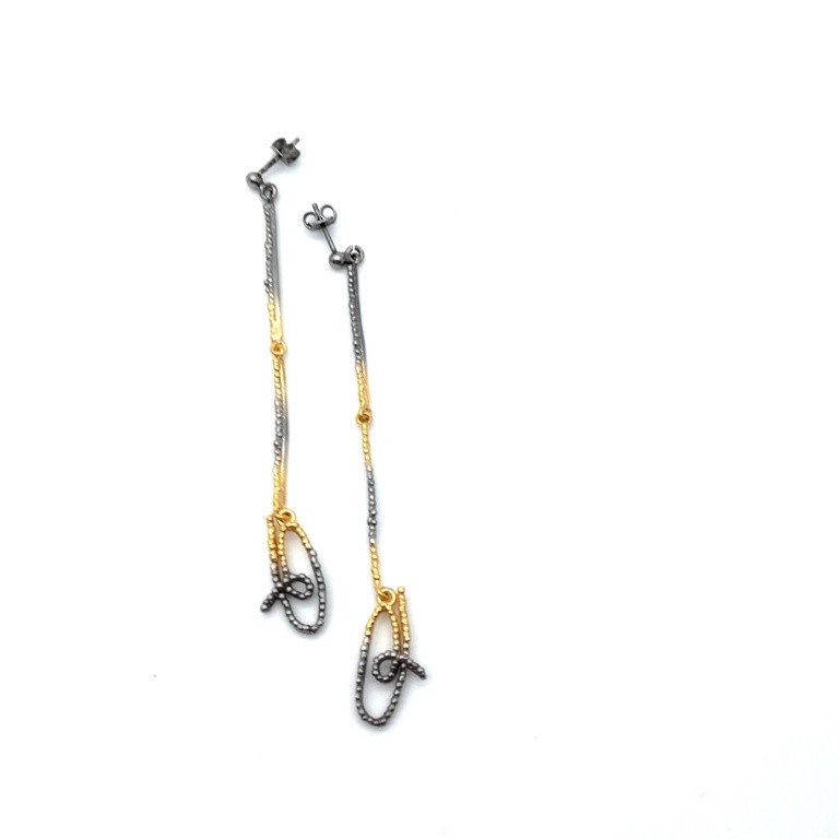 Silver earrings 925 black rhodium and gold plated
