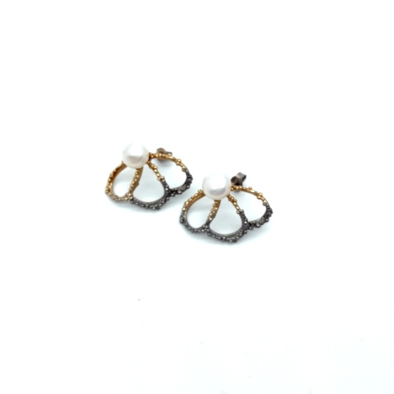 Silver earrings 925 black rhodium and gold plated with pearl