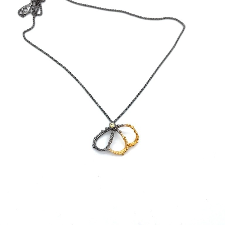 Silver pendant 925 black rhodium and gold plated with synthetic stones