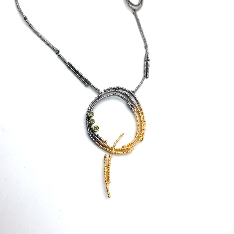 Silver necklace 925 black rhodium and gold plated with synthetic stones