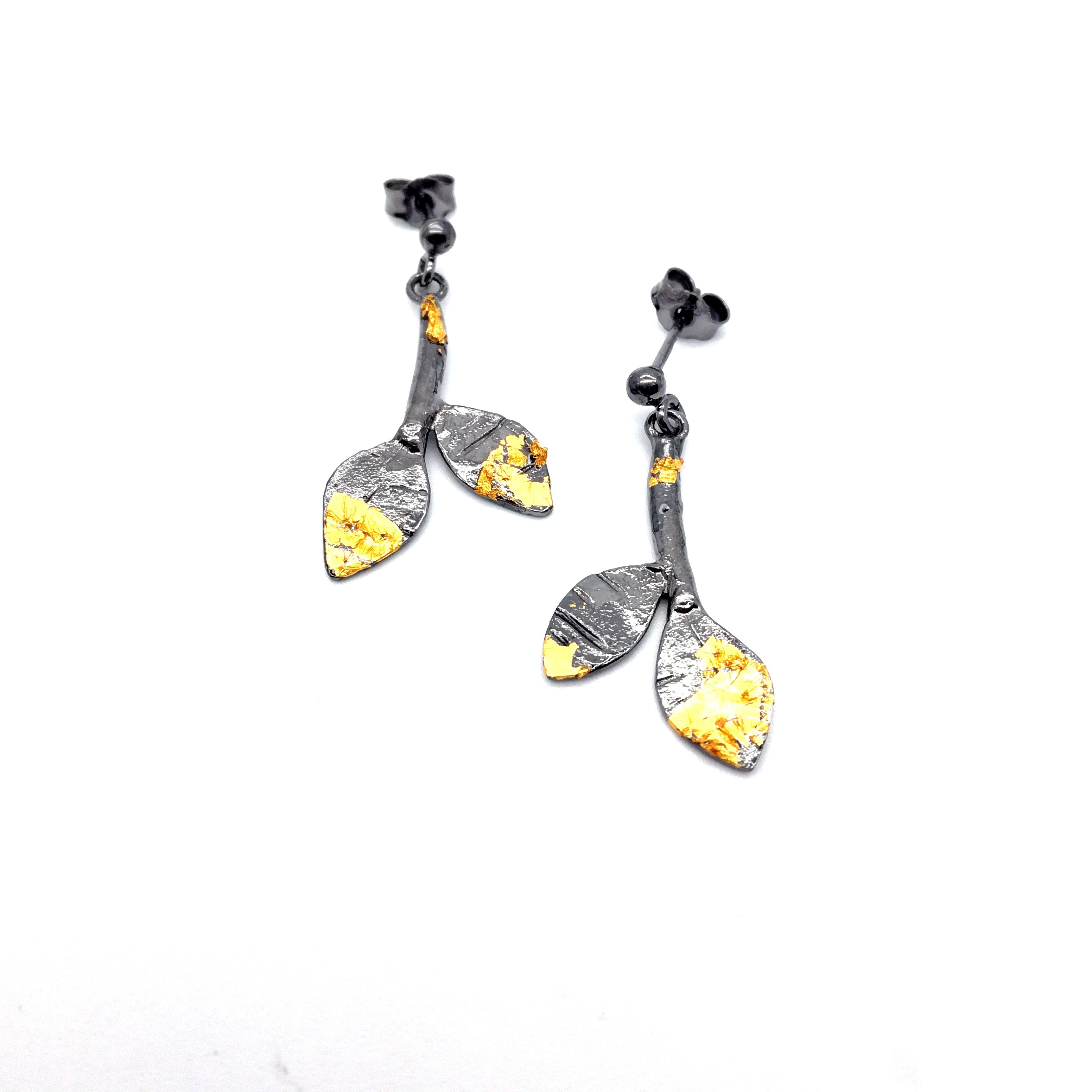 Silver earrings 925 black rhodium with gold leaf 22K