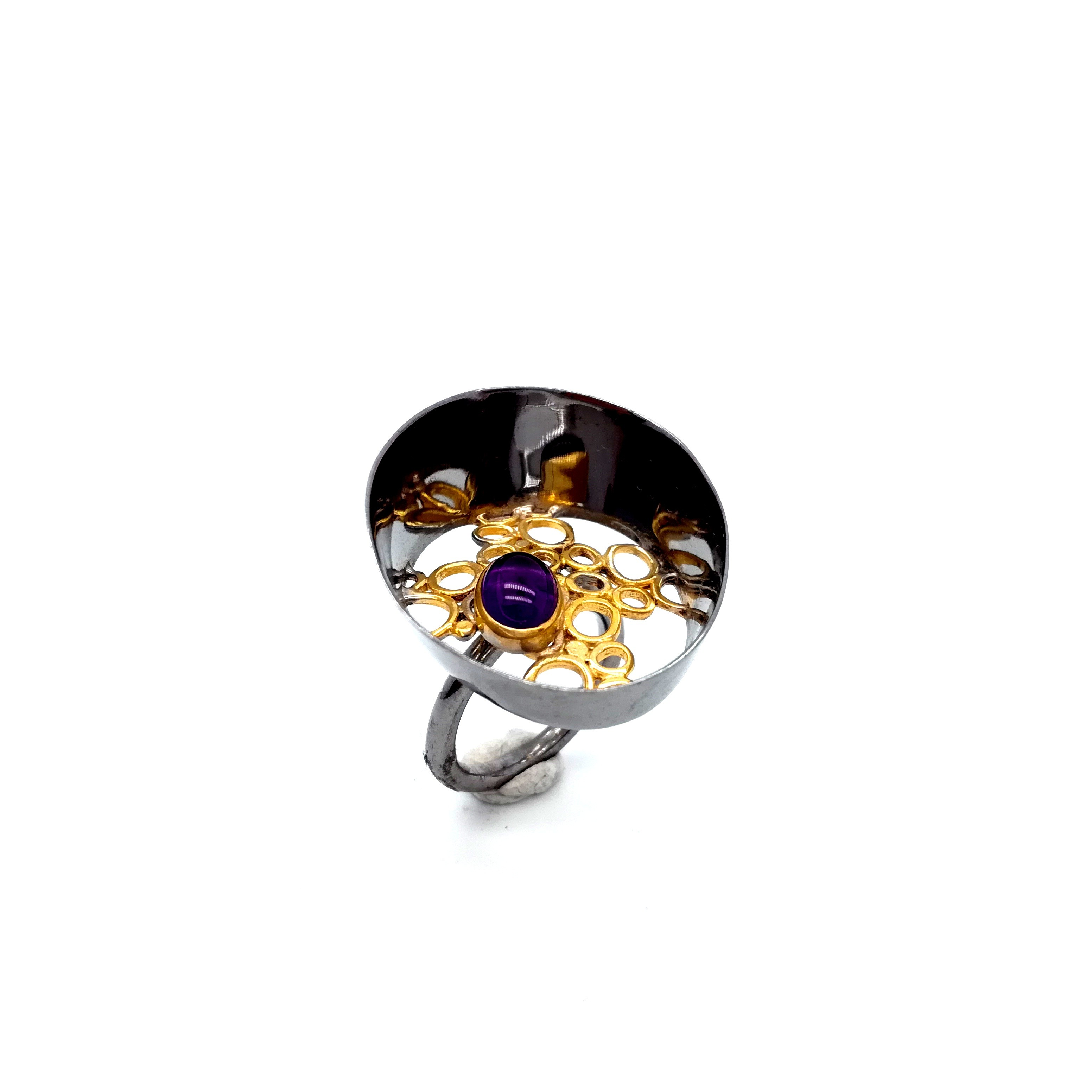 Silver ring 925 black rhodium and gold plated with semiprecious stones