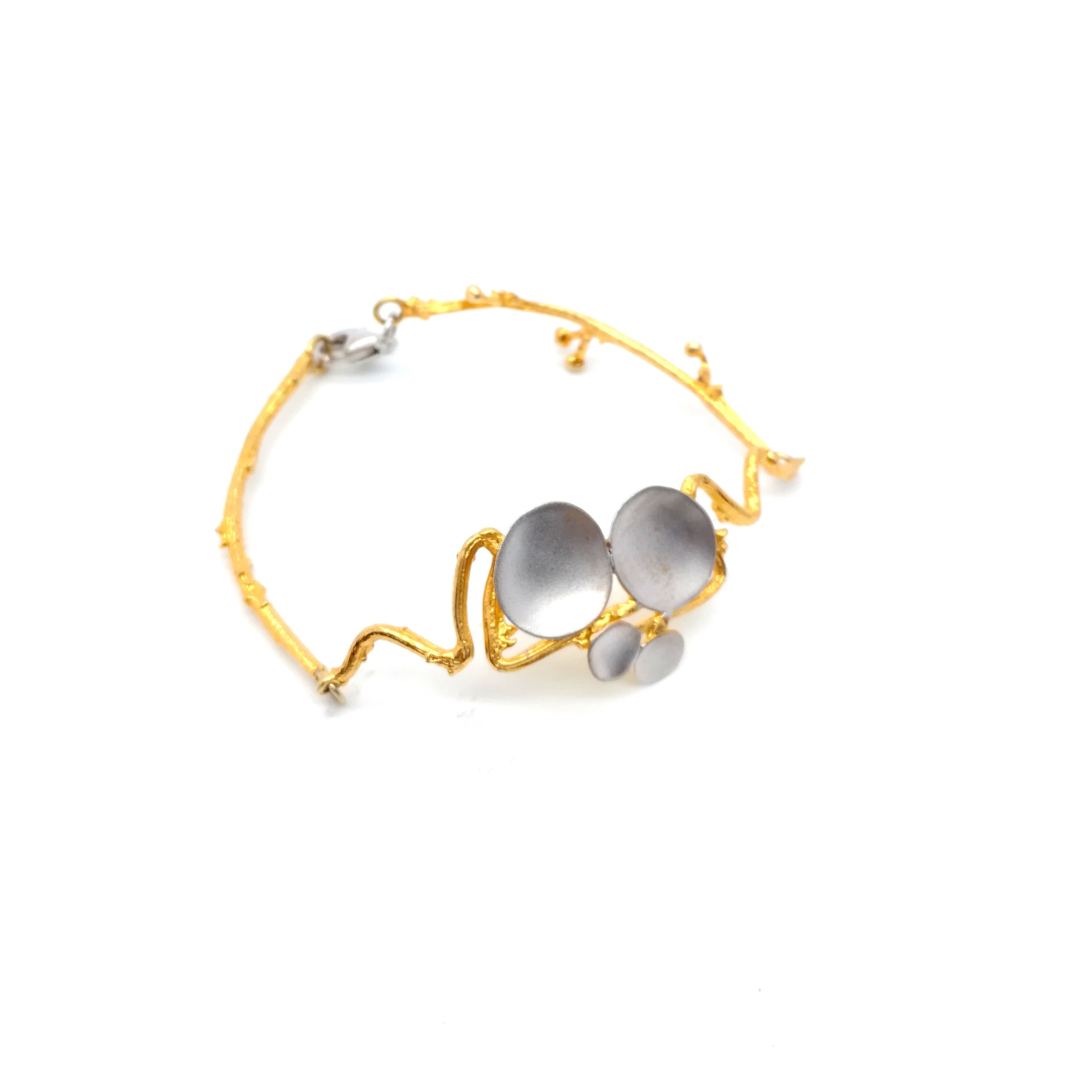 Bracelet handmade silver 925 rhodium and gold plated with pearl