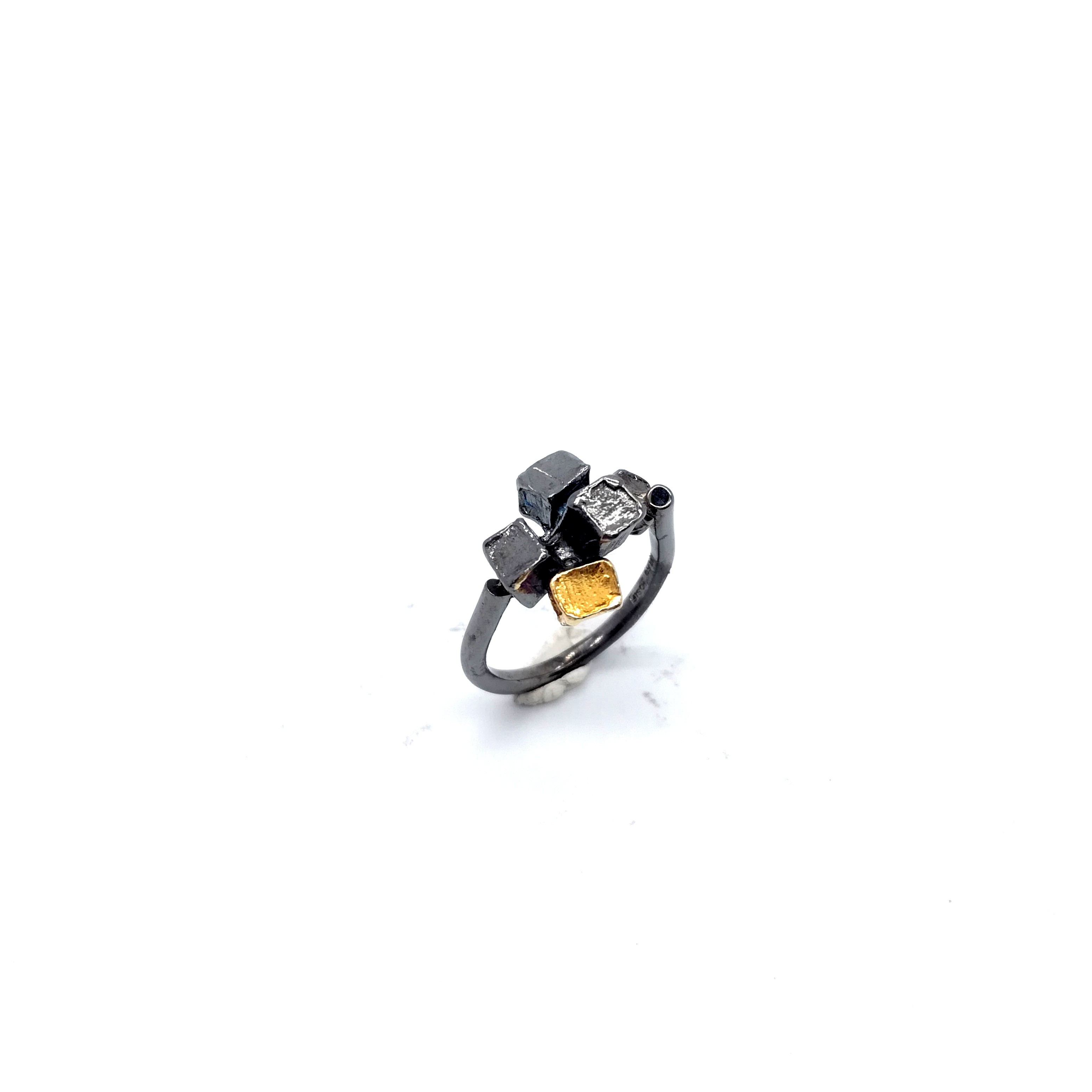 Silver ring 925 black rhodium and gold plated